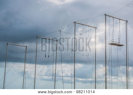 Trapeze with Cloudy Sky
