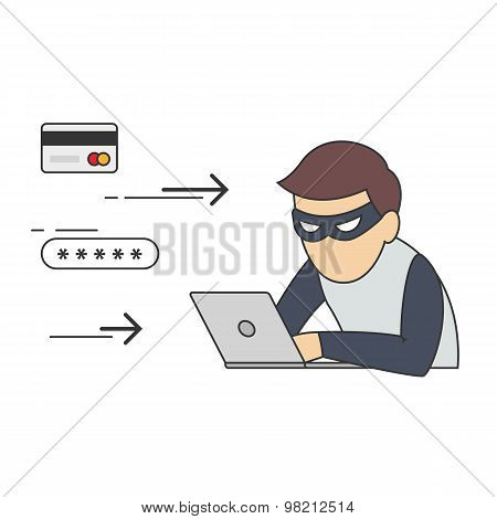 Conceptual Vector Illustration of Man in Role of Internet Thief Sitting in front of Laptop and Stealing Passwords and Numbers of Credit Cards. poster