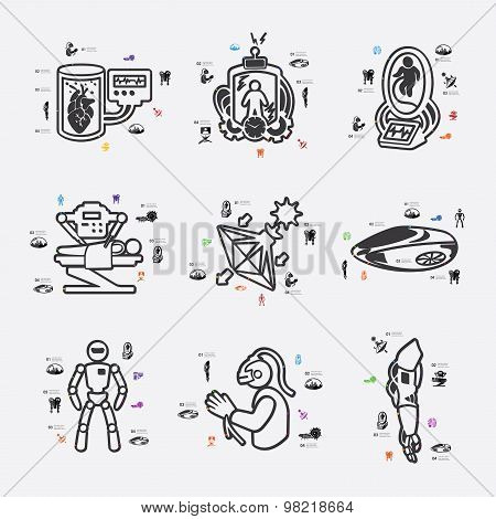 invention line infographic illustration. Fully editable vector file poster