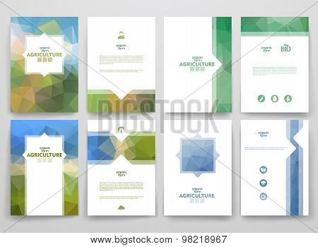 Set of brochures in poligonal style on Agriculture theme.