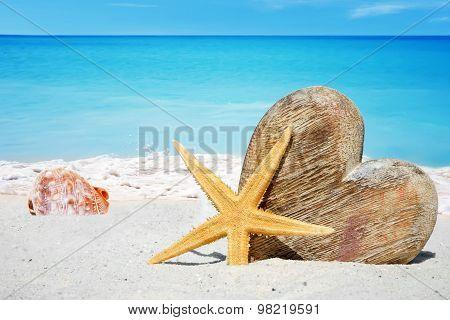 Wooden Heart, Starfish And Seashells