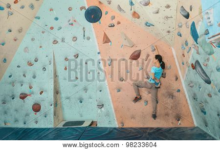 Climber Woman Exercises Indoor