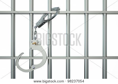 Metal Prison Bars With Handcuffs