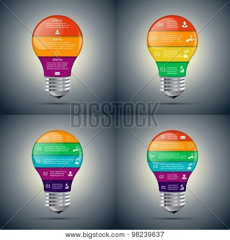 Vector lightbulb set for infographic.