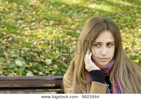 Caucasian woman calling on her phone