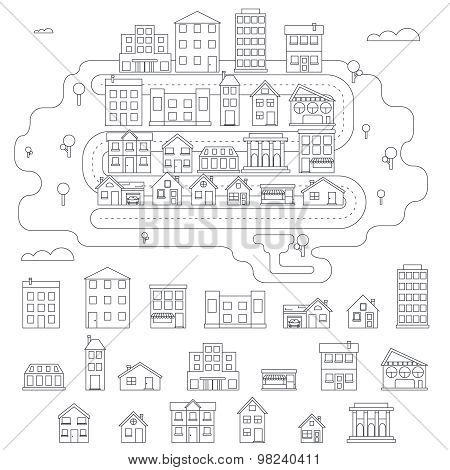 Real Estate City Building House Street Linear Icons Constructor Set Isolated Graphic Design Template