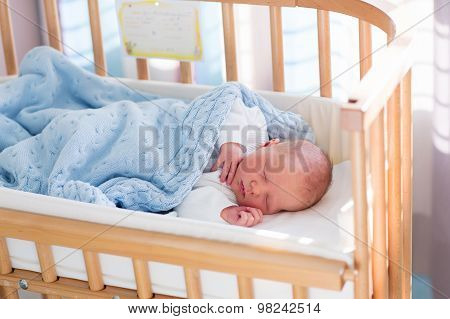 Newborn Baby Boy In Hospital Cot