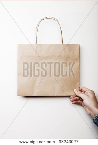 Mockup of craft shopping bag.