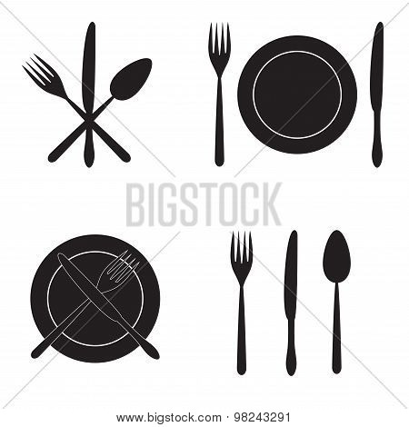 Cutlery: knife, fork, spoon and dish. Vector icons.