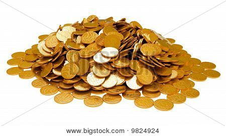 Earnings. Heap Of Golden Coins Isolated