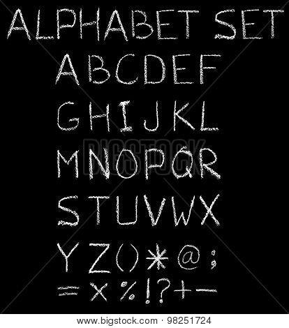 English font freehand alphabet pencil sketch