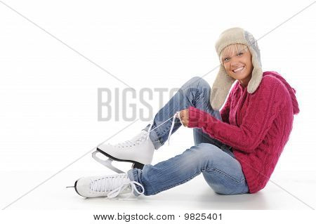 Beautiful Girl Puts On Skates