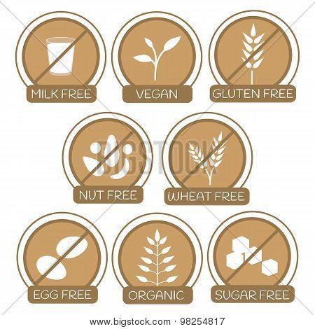 Allergens Free Products Icons.