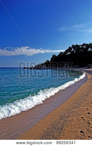 Seascape Of Lloret De Mar Beach Before Sunset. Costa Brava, Spain.