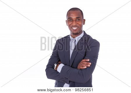 African American Business Man With Folded Arms Over White Background - Black People