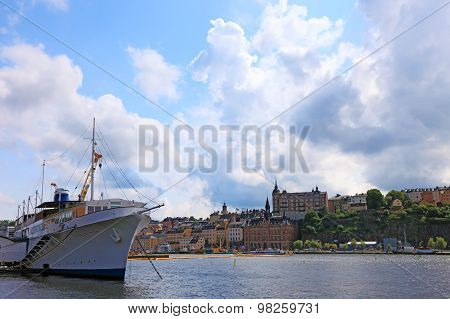 Ship And Cityscape Of Stockholm.