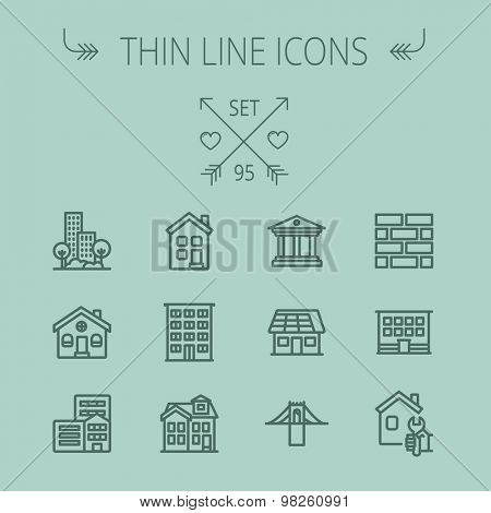 Construction thin line icon set for web and mobile. Set includes - museum, house with solar panel, bridge, building, bricks, hotel. Modern minimalistic flat design. Vector dark grey icon on grey