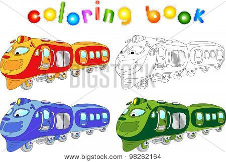Funny Cartoon Train. Coloring Book For Children