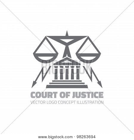 Court of justice - vector logo concept illustration in classic graphic line style. Law logo icon.