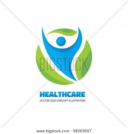 Healthcare - vector logo concept. Abstract man illustration. Human character. Vector logo template.