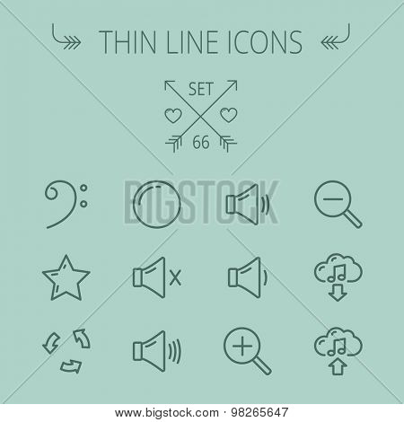 Music and entertainment thin line icon set for web and mobile. Set includes- C-clef, star, replay, stop, volume speaker icons. Modern minimalistic flat design. Vector dark grey icon on grey background
