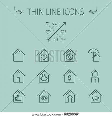 Real estate thin line icon set for web and mobile. Set includes- house heart, umbrella, dollar sign, piggy bank, megaphone icons. Modern minimalistic flat design. Vector dark grey icon on grey