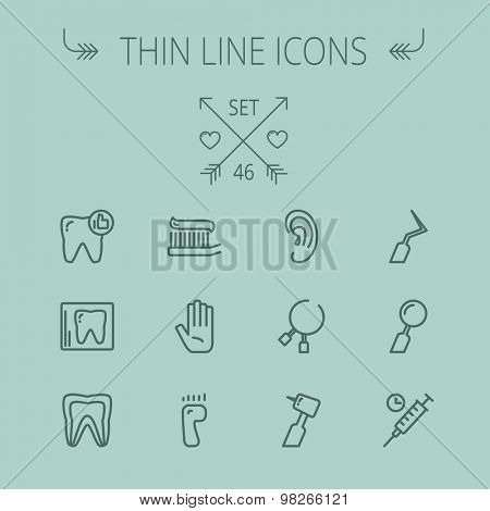 Medicine thin line icon set for web and mobile. Set includes- tooth, toothbrush, dental tools, foot, hand, syringe icons. Modern minimalistic flat design. Vector dark grey icon on grey background.