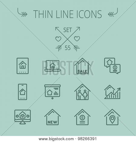 Real estate thin line icon set for web and mobile. Set includes- electronic keycard, business card, graphs, new house, couple, dollar, locator pin icons. Modern minimalistic flat design. Vector dark poster