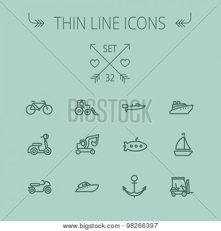 Transportation thin line icon set for web and mobile. Set includes- golf cart, trucks, motor, boat, submarine, anchor, scooter icons. Modern minimalistic flat design. Vector dark grey icon on grey