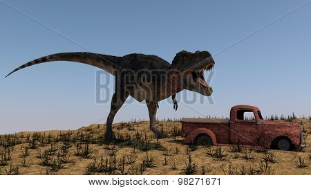tarbosaurus attacking rusted vintage car