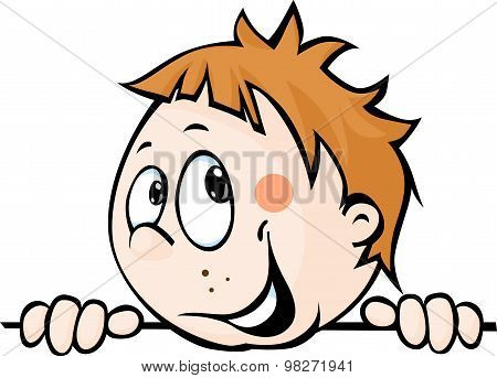 Cute Child Boy Peeking Out From Behind White Surface - Vector Illustration