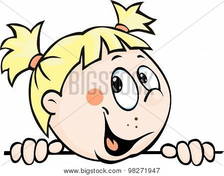 Cute Child Girl Peeking Out From Behind White Surface - Vector Illustration