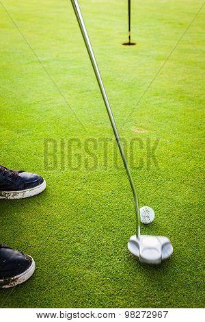 Golfer Near The Hole