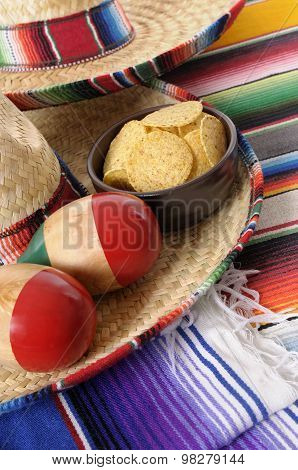 Mexican Sombreros With Maracas And Tortilla Chips
