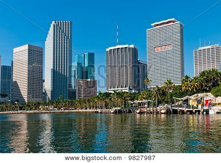 View of Bayfront Park and downtown Miami from Biscayne Bay. poster