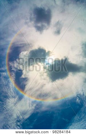 Sun Halo And Clouds.