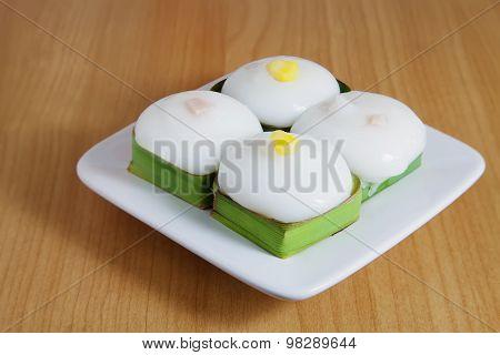 Thai Dessert, Pudding With Coconut Topping On Pandanus Leaf (kanom Tako