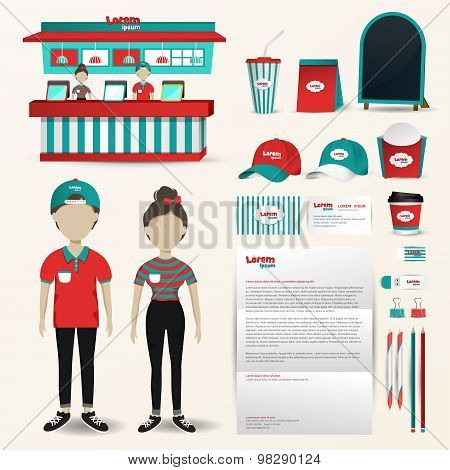 Fast Food Restaurant Business Uniform Fashion, Shop Counter Design And Packaging, Banner And Brochur