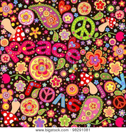Hippie wallpaper with mushrooms