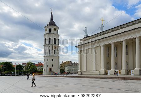 Vilnius, Cathedral Square. Cathedral Of St. Stanislaus And St. Vladislav And Bell Tower
