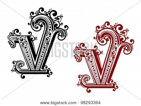 Capital letter V with floral elements