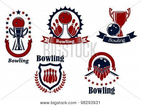 Bowling icons with balls, ninepins and trophy