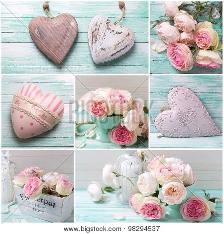 Collage  With Roses Flowers And Decorative Hearts