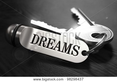 Keys to Dreams Concept on Golden Keychain.