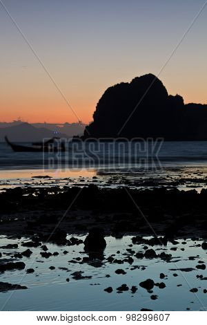 Sunset At Beach In Krabi Thailand