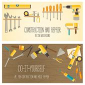 Web banner concept of DIY shop. Vector flat design background with construction tools and home repair kit. poster