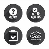 Quiz icons. Human brain think. Checklist with check mark symbol. Survey poll or questionnaire feedback form sign. Circles buttons with long flat shadow. Vector poster