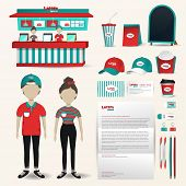 Fast food restaurant business uniform fashion shop counter design and packaging banner and brochure advertisement and office stationary accessories tool with brand icon logo design layout and sample text in black isolated background in for male and female poster