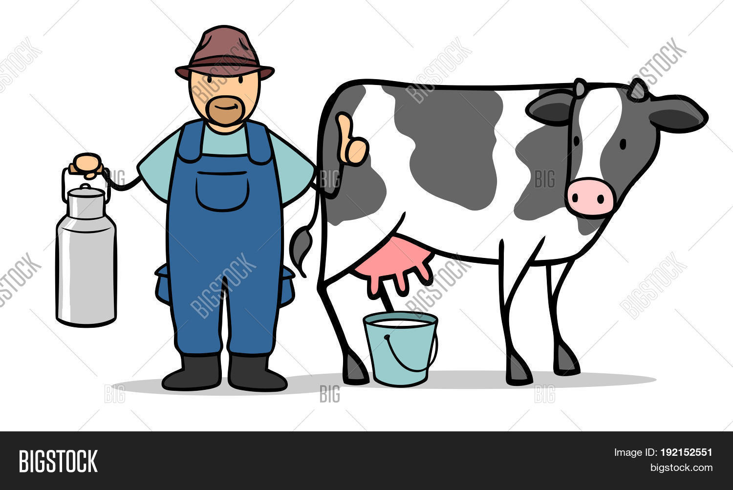 Cartoon Farmer Cow Image Photo Free Trial Bigstock