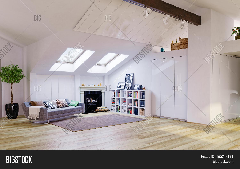Attic Floor Design 3d Image Photo Free Trial Bigstock
